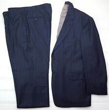 Hart Schaffner Marx Blue Suit 46R Pinstriped Mens 2 Button Lined Vents Wool Size