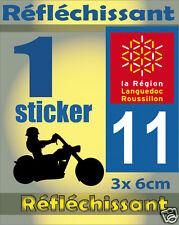 1 Sticker REFLECHISSANT département 11 rétro-réfléchissant immatriculation MOTO