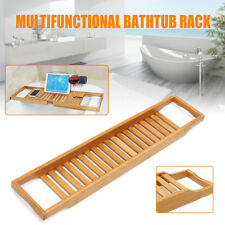Bamboo Bath Bridge Tub Caddy Tray Rack Bathroom Holder Slim Storage Support Desk