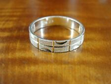 Silver 925 Ring Size 10 1/4 Rectangle with part Circle Texture Band Sterling