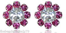 GODDESS PINK Birthstone OCT Swarovski Crystal Sterling Silver FLOWER Earrings