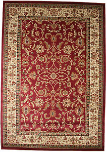5X8 Area Rug New Border Floral Claret Red Beige Black Traditional