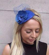 Royal Blue Orchid Flower Fascinator Net Hair Headband Wedding Races Vintage 3200