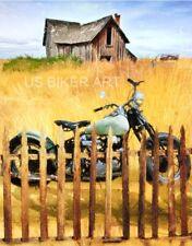 HARLEY DAVIDSON KNUCKLEHEAD MOTORCYCLE VINTAGE COUNTRY FARM BIKER ART PRINT