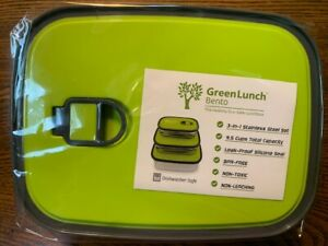 Green Lunch Bento Box Three In One Lunch Stainless Steel Container 3pc Leakproof