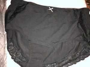 NEW Cacique Lace Black Cotton Full Brief  Size 22/24 Pantie