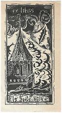FRANS SPITS: Exlibris für Els Spits-Huls, 1946; Turm und Wappen