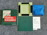 VINTAGE TRAVEL SCRABBLE 100% COMPLETE BOARD TILES BLACK HOLDERS RULES