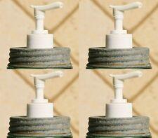 Set 4 Rustic Barn Roof Gray MASON Jar Soap Lotion Dispenser LIDS White PUMPS