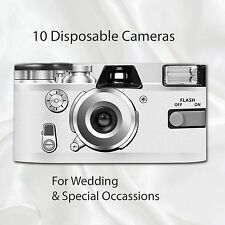 10 x Disposable Camera - Retro White Wedding Party flash 27exp with table cards