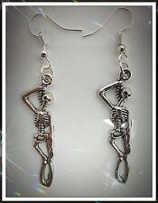 Esqueleto Colgante Pendientes, gota, miedo, Halloween, perforado, idea de regalo, horror, inusual