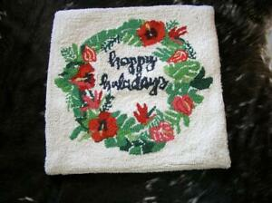 """Happy Holidays Wool Hooked Wreath Pillow Cover with Zipper Back for 18"""" XMAS"""