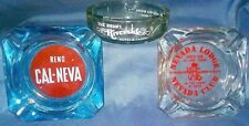 3 Vtg GLASS ASHTRAYS Cal-Neva NEVADA LODGE Pick Hobson's Riverside RENO Casino