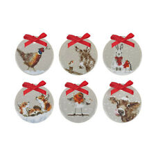 Wrendale Set of 6 Christmas Tree Decorations Royal Worcester Ornaments