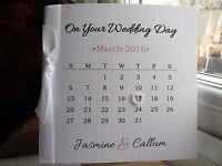 Personalised Wedding Day Engagement Anniversary Calendar Card Modern Handmade