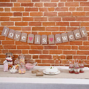 'LOVE IS SWEET' WEDDING BUNTING WEDDING CANDY BAR LUGGAGE TAG PARTY JUST MY TYPE