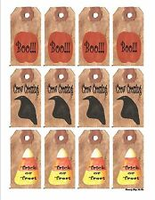 12 Primitive Halloween Hang Tags Scrapbooking Paper Crafts (78)