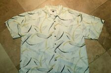 Tommy Bahama Short Sleeve Hawaiian Shirt 100% Silk Floral Print Ivory 2XL
