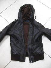 Ladies NEXT Brown Leather Jacket coat hoody distressed bomber size UK 14 indie