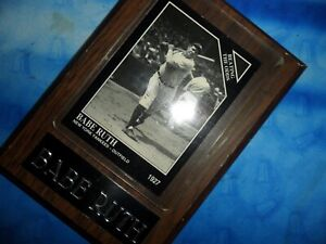 BABE RUTH / 1927 NEW YORK YANKEES OUTFIELD -  WOODEN PLAQUE