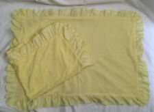 More details for vintage pair of yellow nylon frilled ruffled pillow cases