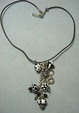 """Test Silver & Art Glass / Lampwork Bead Pendant Necklace on Rubber Cord 17"""" long"""