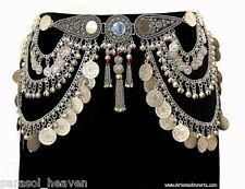 MIRROR SILVER TONE COIN BELT CHAIN LINK TRIBAL BELLY DANCE  MEDALLION ANTIQUE