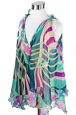 Scarf Top Blouse Tied Shoulder Style Poly Chiffon Silk Teal Tan Fuchsia Floral