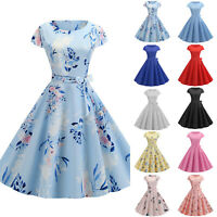 Womens Hepburn 50s 60s Vintage Rockabilly Cocktail Eveing Party Swing Midi Dress