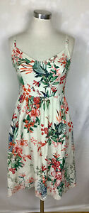 MONSOON Floral Tropical Cotton Strappy Summer Fit Flare Dress Pockets Size 12
