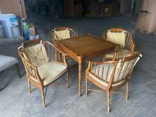 Vintage Drexel Heritage Faux Bamboo and Leather Burl Square Card/Game & 4 Chairs