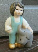 original lene thun keramik bozen tina mädchen mit elefant türkis 14,5cm
