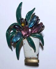 Art Deco Faceted Glass Enamel Flower Vase Pot Metal Brooch Pin
