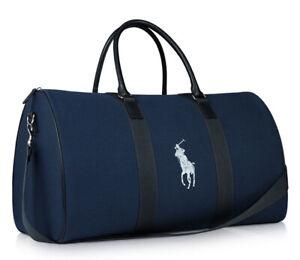 NEW Authentic Ralph Lauren Polo Weekend Hand Bag travel Weekender Blue duffle.