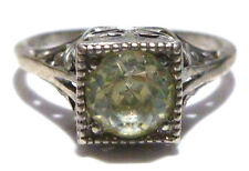AWESOME ART NOUVEAU DECO STERLING SILVER FILIGREE CZ SOLITAIRE WEDDING RING BAND