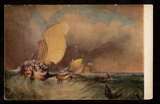 c.1907 fine art by j.m.w.turner dutch fishing boats in rough seas postcard