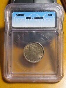 1896 Liberty Head Nickel. ICG MS 63. Full Details Strike.