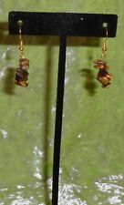 EARRINGS WITH DANGLING TIGER EYE CHIPS