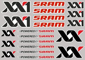 20X SRAM XX1 PRINTED STICKERS DECALS SHEET GRAPHICS LOGO MOTORBIKE