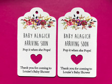 10 White Gift Tags Baby Shower Favour Personalised Bomboniere Pop it when