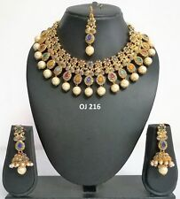 Indian Fashion Jewelry Wedding Bridal Kundan Crystal Necklace Earring Set OJ 216