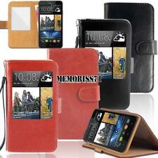 For Various HTC Smartphones - Flip View Window Cover Stand Wallet Leather Case