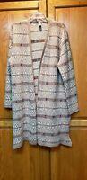 Indigo Great Northwest Women's Open Front Long Aztec Design Sweater Size XL