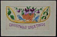 1917 Handmade CROCHET CHRISTMAS CARD - WWI era - From Alan J. Johnston B.E.F.