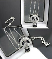 New Fashion Women Silver Panda Rhinestone Pendant Necklace Sweater Chain Jewelry