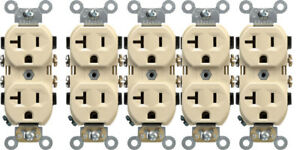 NEW! LEVITON Duplex Receptacle 20-Amps Ivory Outlet 5-20R 0CR20-0IS 5-Pack!