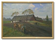 OLSSON/BEHIND THE PLOUGH -Original Swedish Oil Painting