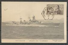 1942 CP du croiseur avec obl hexagonale et tp CROISEUR JEAN de VIENNE Sup X3797