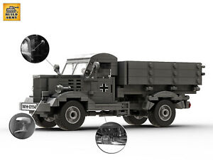 WW2 German Opel Blitz truck brick set + 9 Minifigures + Rifles