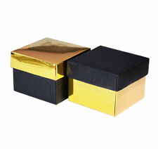 12 Gold and Black Favor Box with Lid 2 5/8 x 2 5/8 x 2 Wedding Gift Box
